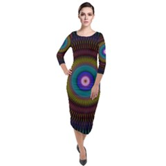 Artskop Kaleidoscope Pattern Quarter Sleeve Midi Velour Bodycon Dress by Pakrebo