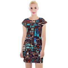Stained Glass Mosaic Abstract Cap Sleeve Bodycon Dress by Pakrebo