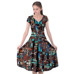 Stained Glass Mosaic Abstract Cap Sleeve Wrap Front Dress