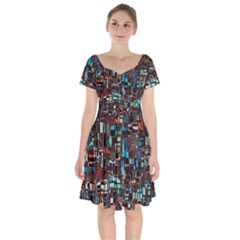 Stained Glass Mosaic Abstract Short Sleeve Bardot Dress by Pakrebo