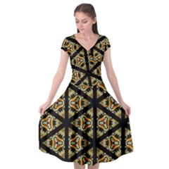 Pattern Stained Glass Triangles Cap Sleeve Wrap Front Dress