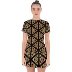 Pattern Stained Glass Triangles Drop Hem Mini Chiffon Dress