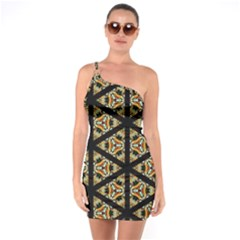 Pattern Stained Glass Triangles One Soulder Bodycon Dress by Pakrebo