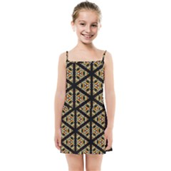 Pattern Stained Glass Triangles Kids  Summer Sun Dress