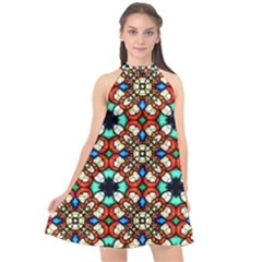 Stained Glass Pattern Texture Face Halter Neckline Chiffon Dress