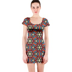 Pattern Stained Glass Church Short Sleeve Bodycon Dress by Pakrebo