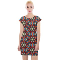 Pattern Stained Glass Church Cap Sleeve Bodycon Dress by Pakrebo