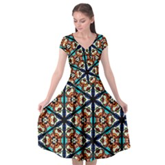 Church Window Stained Glass Texture Cap Sleeve Wrap Front Dress by Pakrebo