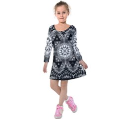 Mandala Calming Coloring Page Kids  Long Sleeve Velvet Dress