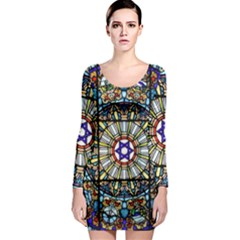 Vitrage Stained Glass Church Window Long Sleeve Bodycon Dress