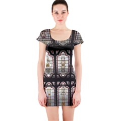 Window Image Stained Glass Short Sleeve Bodycon Dress by Pakrebo