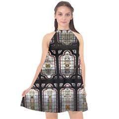 Window Image Stained Glass Halter Neckline Chiffon Dress