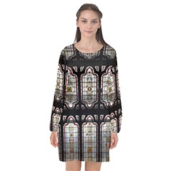 Window Image Stained Glass Long Sleeve Chiffon Shift Dress  by Pakrebo
