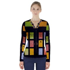 Window Stained Glass Glass Colors V Neck Long Sleeve Top by Pakrebo