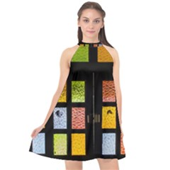 Window Stained Glass Glass Colors Halter Neckline Chiffon Dress  by Pakrebo