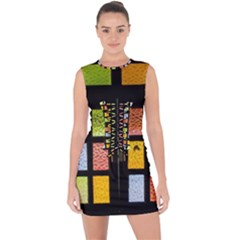 Window Stained Glass Glass Colors Lace Up Front Bodycon Dress by Pakrebo