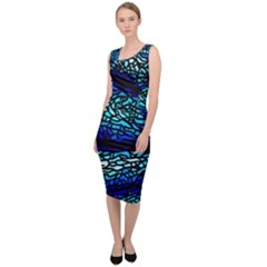 Sea Fans Diving Coral Stained Glass Sleeveless Pencil Dress by Pakrebo