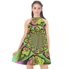 Rose Painted Kaleidoscope Colorful Halter Neckline Chiffon Dress  by Pakrebo