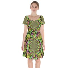 Rose Painted Kaleidoscope Colorful Short Sleeve Bardot Dress