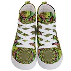 Rose Painted Kaleidoscope Colorful Kids  Hi Top Skate Sneakers
