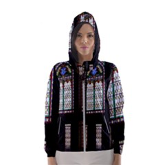 Stained Glass Window Krotoszyn Hooded Windbreaker (women) by Pakrebo