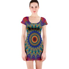 Kaleidoscope Mandala Pattern Short Sleeve Bodycon Dress by Pakrebo