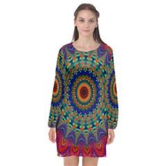 Kaleidoscope Mandala Pattern Long Sleeve Chiffon Shift Dress