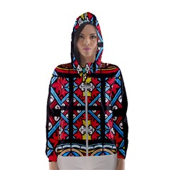 Stained Glass Window Colorful Color Hooded Windbreaker (women) by Pakrebo