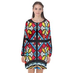 Stained Glass Window Colorful Color Long Sleeve Chiffon Shift Dress  by Pakrebo