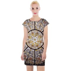 Stained Glass Window Glass Ceiling Cap Sleeve Bodycon Dress