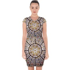 Stained Glass Window Glass Ceiling Capsleeve Drawstring Dress  by Pakrebo