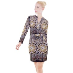 Stained Glass Window Glass Ceiling Button Long Sleeve Dress by Pakrebo