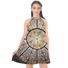 Stained Glass Window Glass Ceiling Halter Neckline Chiffon Dress  by Pakrebo