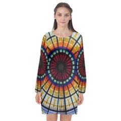 Background Stained Glass Window Long Sleeve Chiffon Shift Dress