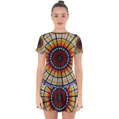 Background Stained Glass Window Drop Hem Mini Chiffon Dress
