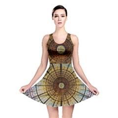 Barcelona Glass Window Stained Glass Reversible Skater Dress by Pakrebo
