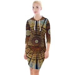 Barcelona Glass Window Stained Glass Quarter Sleeve Hood Bodycon Dress by Pakrebo