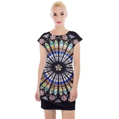 Stained Glass Cathedral Rosette Cap Sleeve Bodycon Dress by Pakrebo