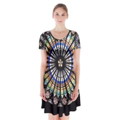Stained Glass Cathedral Rosette Short Sleeve V Neck Flare Dress by Pakrebo