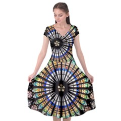 Stained Glass Cathedral Rosette Cap Sleeve Wrap Front Dress by Pakrebo