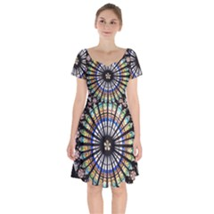 Stained Glass Cathedral Rosette Short Sleeve Bardot Dress