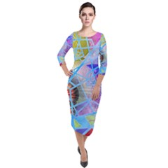Wallpaper Stained Glass Quarter Sleeve Midi Velour Bodycon Dress by Pakrebo
