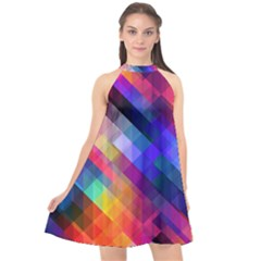 Abstract Background Colorful Halter Neckline Chiffon Dress