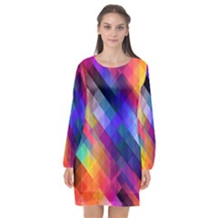 Abstract Background Colorful Long Sleeve Chiffon Shift Dress