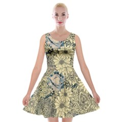 Abstract Art Botanical Velvet Skater Dress