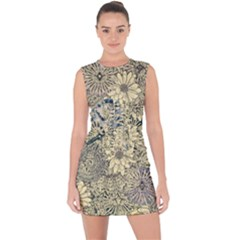 Abstract Art Botanical Lace Up Front Bodycon Dress by Alisyart