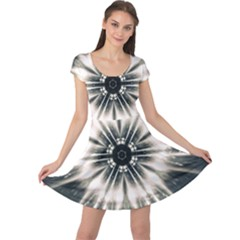 Abstract Fractal Space Cap Sleeve Dress