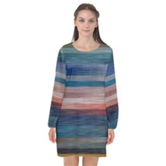 Background Horizontal Ines Long Sleeve Chiffon Shift Dress