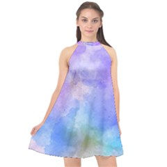 Background Abstract Purple Watercolor Halter Neckline Chiffon Dress