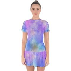 Background Abstract Purple Watercolor Drop Hem Mini Chiffon Dress by Alisyart
